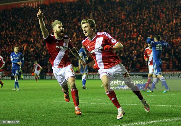 Patrick Bamford of Middlesbrough celebrates scoring the opening goal during the Sky Bet Championship match between Middlesbrough and Cardiff City at...