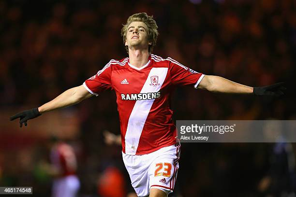 Patrick Bamford of Middlesbrough celebrates scoring the opening goal during the Sky Bet Championship match between Middlesbrough and Millwall at...