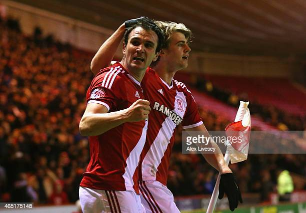 Patrick Bamford of Middlesbrough celebrates scoring the opening goal with Enrique Garcia during the Sky Bet Championship match between Middlesbrough...