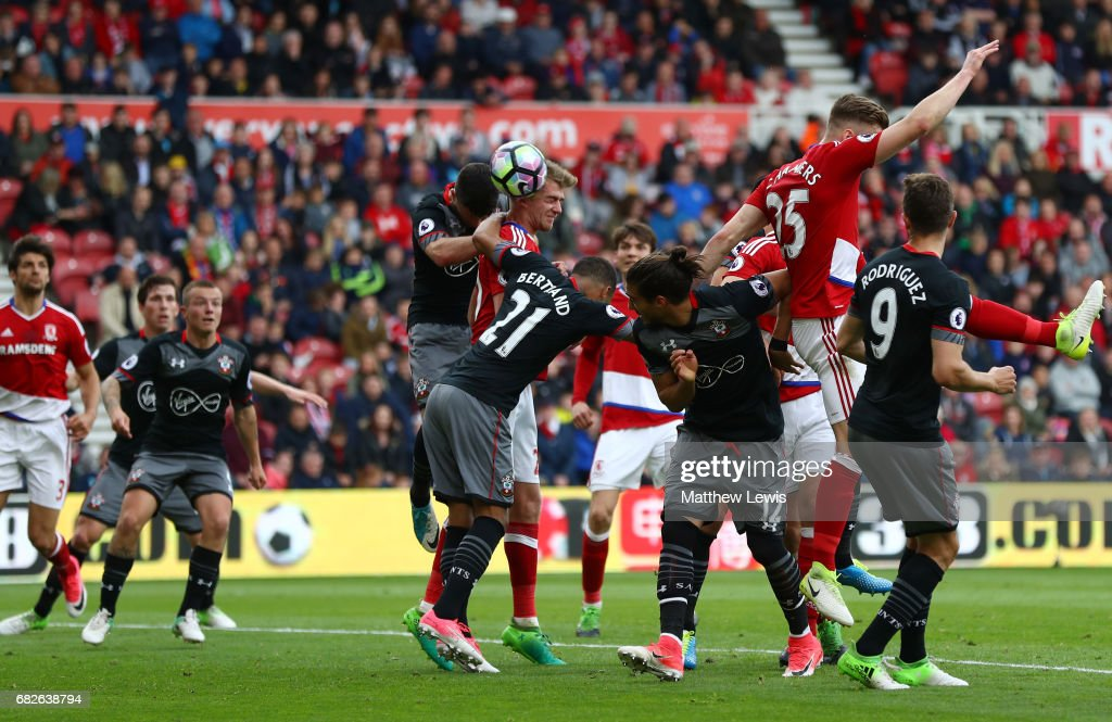 Patrick Bamford of Middlesbrough scores his sides first goal during the Premier League match between Middlesbrough and Southampton at Riverside Stadium on May 13, 2017 in Middlesbrough, England.