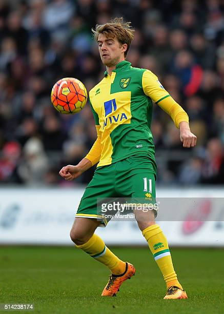Patrick Bamford of Norwich City during the Barclays Premier League match between Swansea City and Norwich City at Liberty Stadium on March 5 2016 in...