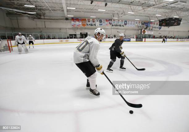 Patrick Barkov moves the puck during the Vegas Golden Knights Development Camp at the Las Vegas Ice Center on June 30 2017 in Las Vegas Nevada