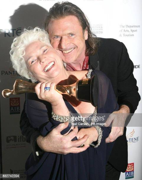 Patrick Bergin who presented Fionnualla Flanagan with award for best actress in a supporting role at the Irish Film and Television Awards at the RDS...
