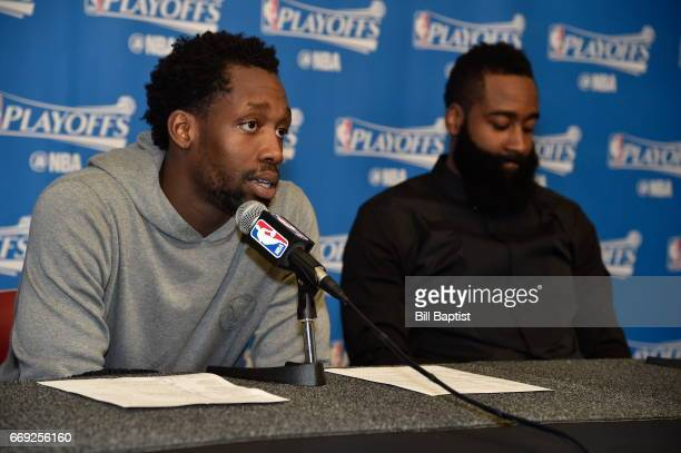 Patrick Beverley and James Harden of the Houston Rockets talk to the media after the game against the Oklahoma City Thunder during the Western...