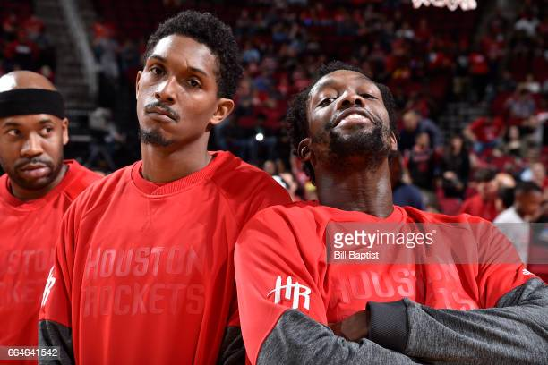 Patrick Beverley and Louis Williams of the Houston Rockets pose for a picture before a game against the New Orleans Pelicans on March 24 2017 at the...