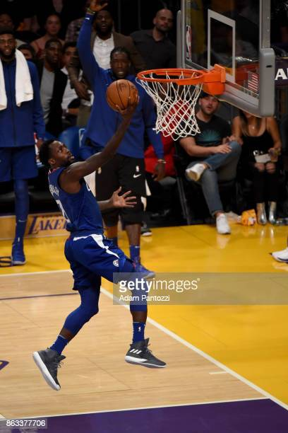 Patrick Beverley of the LA Clippers goes to the basket against the Los Angeles Lakers on October 19 2017 at STAPLES Center in Los Angeles California...