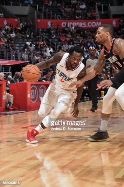 Patrick Beverley of the LA Clippers handles the ball during the 2017 NBA PreSeason game against the Portland Trail Blazers on October 8 2017 at...
