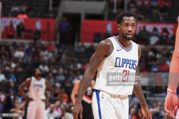 Patrick Beverley of the LA Clippers looks on during the 2017 NBA PreSeason game against the Portland Trail Blazers on October 8 2017 at STAPLES...
