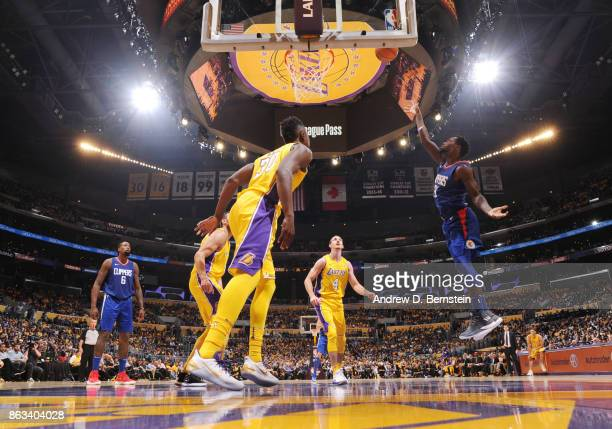Patrick Beverley of the LA Clippers shoots the ball against the Los Angeles Lakers during the game on October 19 2017 at STAPLES Center in Los...