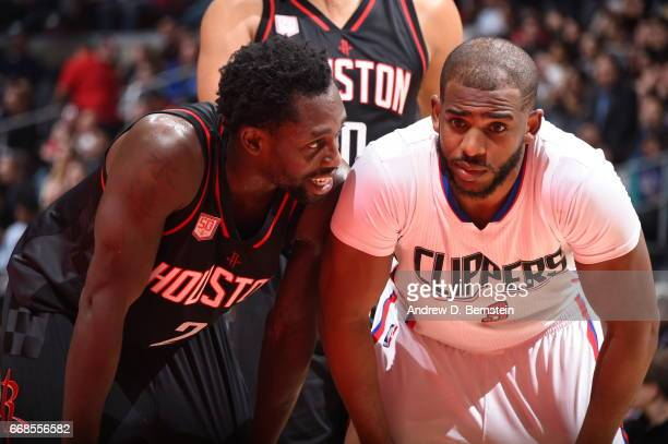 Patrick Beverley of the Houston Rockets and Chris Paul of the Los Angeles Clippers look on on March 1 2017 at STAPLES Center in Los Angeles...