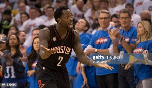 Patrick Beverley of the Houston Rockets argues a foul call against the Oklahoma City Thunder during the second half of Game Three in the 2017 NBA...