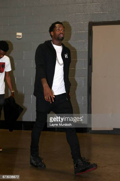 Patrick Beverley of the Houston Rockets arrives to the arena before the game against the Oklahoma City Thunder in Game Five of the Western Conference...