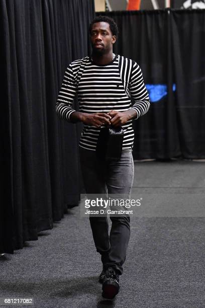 Patrick Beverley of the Houston Rockets arrives to the arena before the game against the San Antonio Spurs during Game Five of the Western Conference...