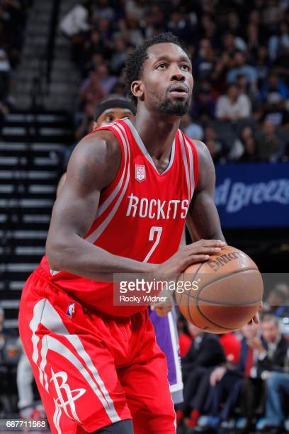 Patrick Beverley of the Houston Rockets attempts a freethrow shot against the Sacramento Kings on April 9 2017 at Golden 1 Center in Sacramento...