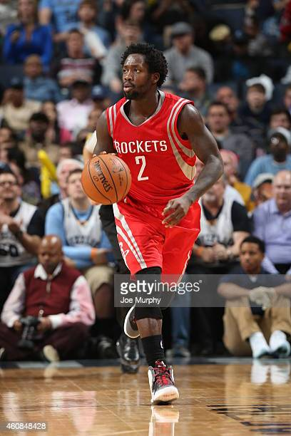 Patrick Beverley of the Houston Rockets brings the ball up court against the Memphis Grizzlies on December 26 2014 at the FedExForum in Memphis...