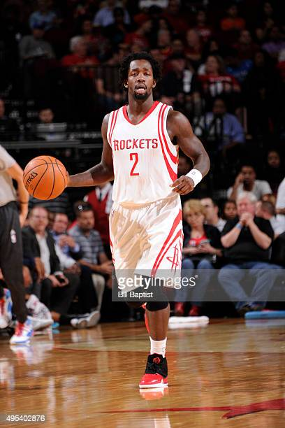 Patrick Beverley of the Houston Rockets brings the ball up court against the Oklahoma City Thunder on November 2 2015 at the Toyota Center in Houston...