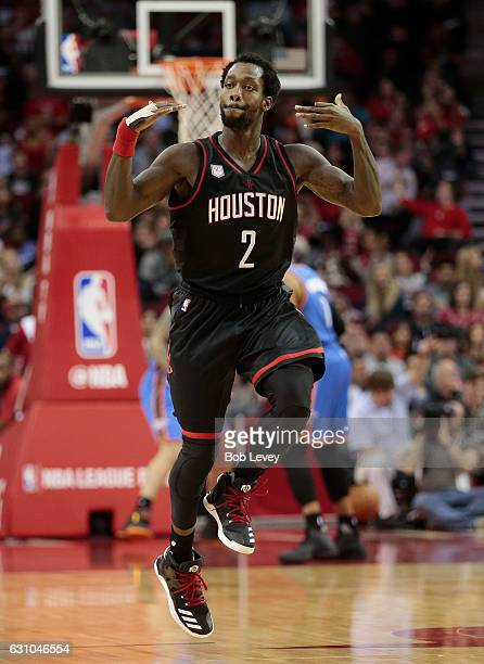 Patrick Beverley of the Houston Rockets celebrates a threepoint shot in the third quarter against the Oklahoma City Thunder at Toyota Center on...