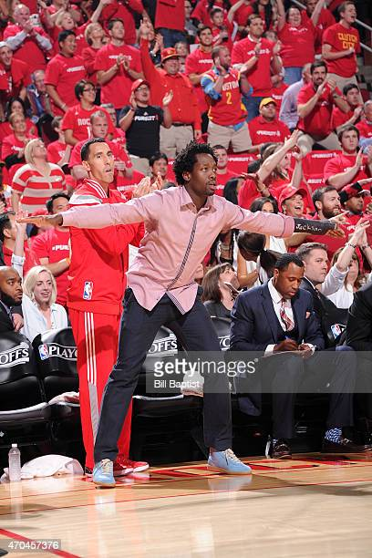 Patrick Beverley of the Houston Rockets celebrates during a game against the Dallas Mavericks in Game One of the Western Conference Quarterfinals...