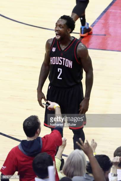 Patrick Beverley of the Houston Rockets celebrates during the game against the Oklahoma City Thunder during the Western Conference Quarterfinals of...