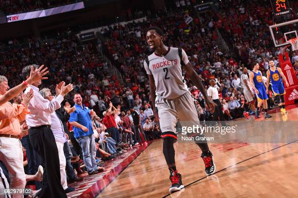 Patrick Beverley of the Houston Rockets celebrates in front of fans during the game against the Golden State Warriors on March 28 2017 at the Toyota...