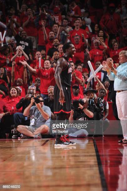 Patrick Beverley of the Houston Rockets celebrates with the crowd during the game against the Oklahoma City Thunder during the Western Conference...