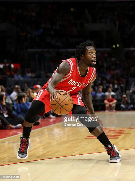 Patrick Beverley of the Houston Rockets controls the ball against the Los Angeles Clippers at Staples Center on February 11 2015 in Los Angeles...