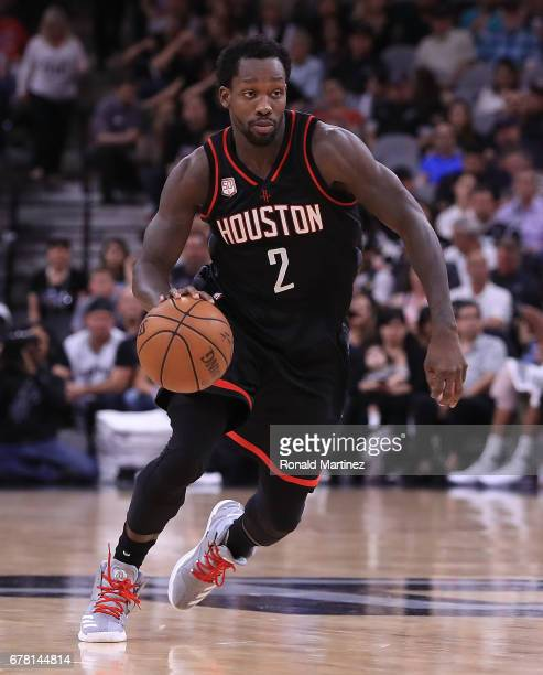 Patrick Beverley of the Houston Rockets drives against the San Antonio Spurs during Game Two of the NBA Western Conference SemiFinals at ATT Center...