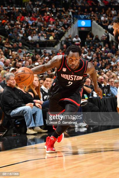 Patrick Beverley of the Houston Rockets drives to the basket during the game against the San Antonio Spurs during Game Five of the Western Conference...
