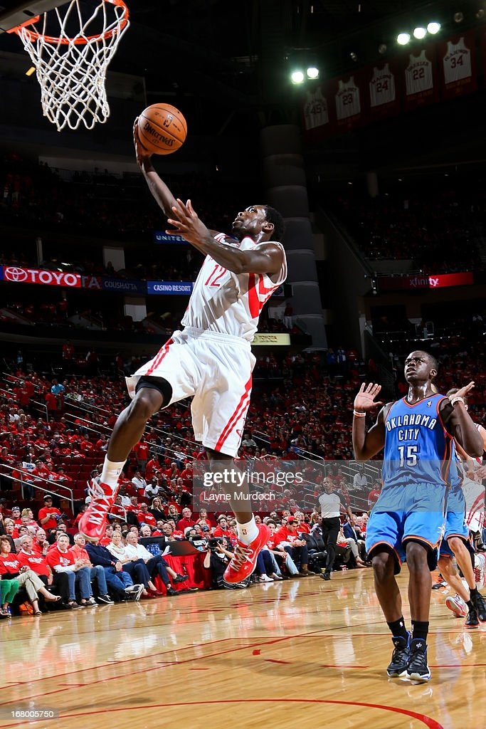 Patrick Beverley #12 of the Houston Rockets drives to the basket on a fast break against the Oklahoma City Thunder in Game Six of the Western Conference Quarterfinals during the 2013 NBA Playoffs on May 3, 2013 at the Toyota Center in Houston, Texas.