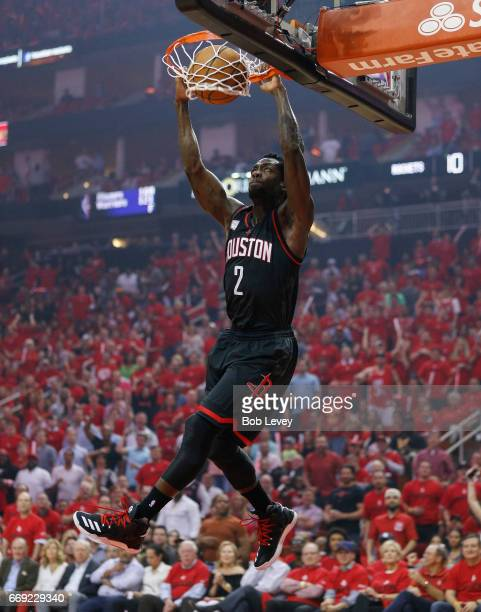 Patrick Beverley of the Houston Rockets dunks during the first quarter against the Oklahoma City Thunder during Game One of the first round of the...