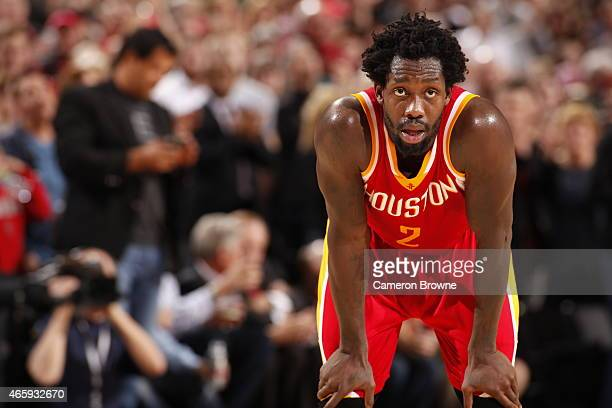 Patrick Beverley of the Houston Rockets during the game against the Portland Trail Blazers on March 11 2015 at the Moda Center Arena in Portland...
