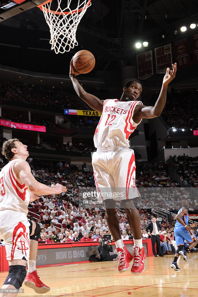 Patrick Beverley #12 of the Houston Rockets grabs a rebound against the Oklahoma City Thunder in Game Three of the Western Conference Quarterfinals during the 2013 NBA Playoffs on April 27, 2013 at the Toyota Center in Houston, Texas.