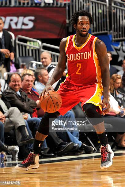 Patrick Beverley of the Houston Rockets handles the ball against the Orlando Magic during the game on January 14 2015 at Amway Center in Orlando...