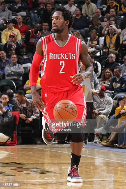 Patrick Beverley of the Houston Rockets handles the ball against the Indiana Pacers on March 23 2015 at Bankers Life Fieldhouse in Indianapolis...