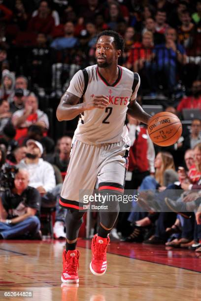 Patrick Beverley of the Houston Rockets handles the ball against the Cleveland Cavaliers on Macrh 12 2017 at the Toyota Center in Houston Texas NOTE...