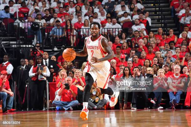 Patrick Beverley of the Houston Rockets handles the ball against the San Antonio Spurs in Game Three of the Western Conference Semifinals of the 2017...