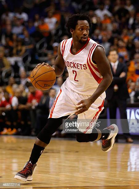 Patrick Beverley of the Houston Rockets handles the ball during the NBA game against the Phoenix Suns at US Airways Center on January 23 2015 in...