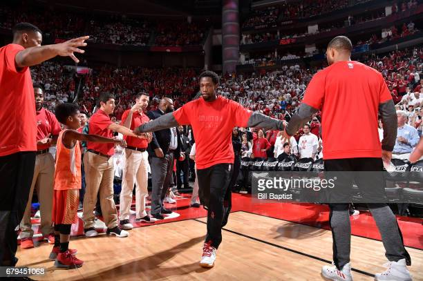 Patrick Beverley of the Houston Rockets is introduced before Game Three of the Western Conference Semifinals of the 2017 NBA Playoffs on May 5 2017...