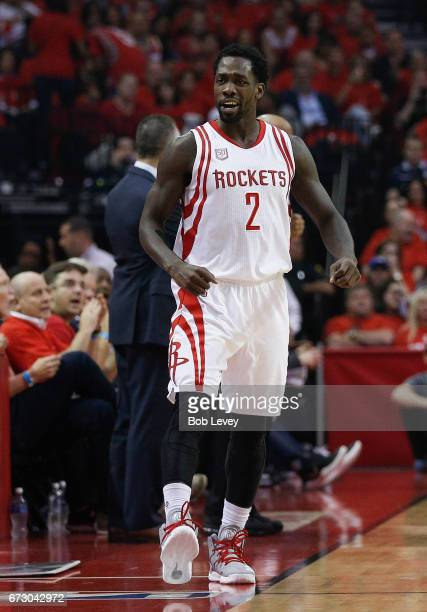 Patrick Beverley of the Houston Rockets reacts after a defensie play during the first quarter against the Oklahoma City Thunder during Game Five of...
