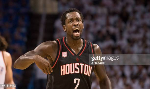 Patrick Beverley of the Houston Rockets reacts after being charged with a foul against the Oklahoma City Thunder during the first half of Game Three...