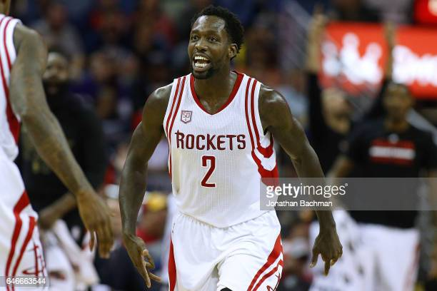 Patrick Beverley of the Houston Rockets reacts during a game against the New Orleans Pelicans at the Smoothie King Center on February 23 2017 in New...