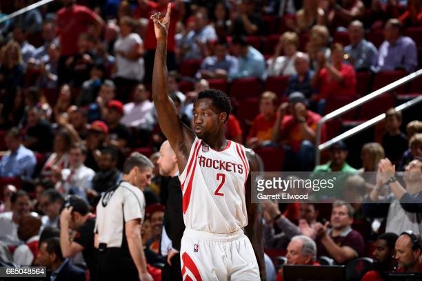 Patrick Beverley of the Houston Rockets reacts during the game against the Denver Nuggets on April 5 2017 at Toyota Center in Houston Texas NOTE TO...