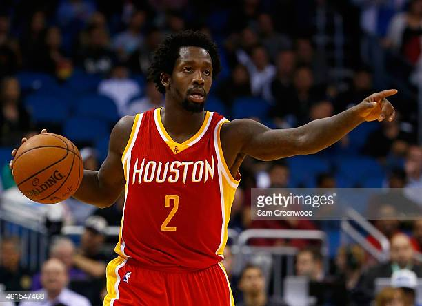 Patrick Beverley of the Houston Rockets sets up the offense during the game against the Orlando Magic at Amway Center on January 14 2015 in Orlando...