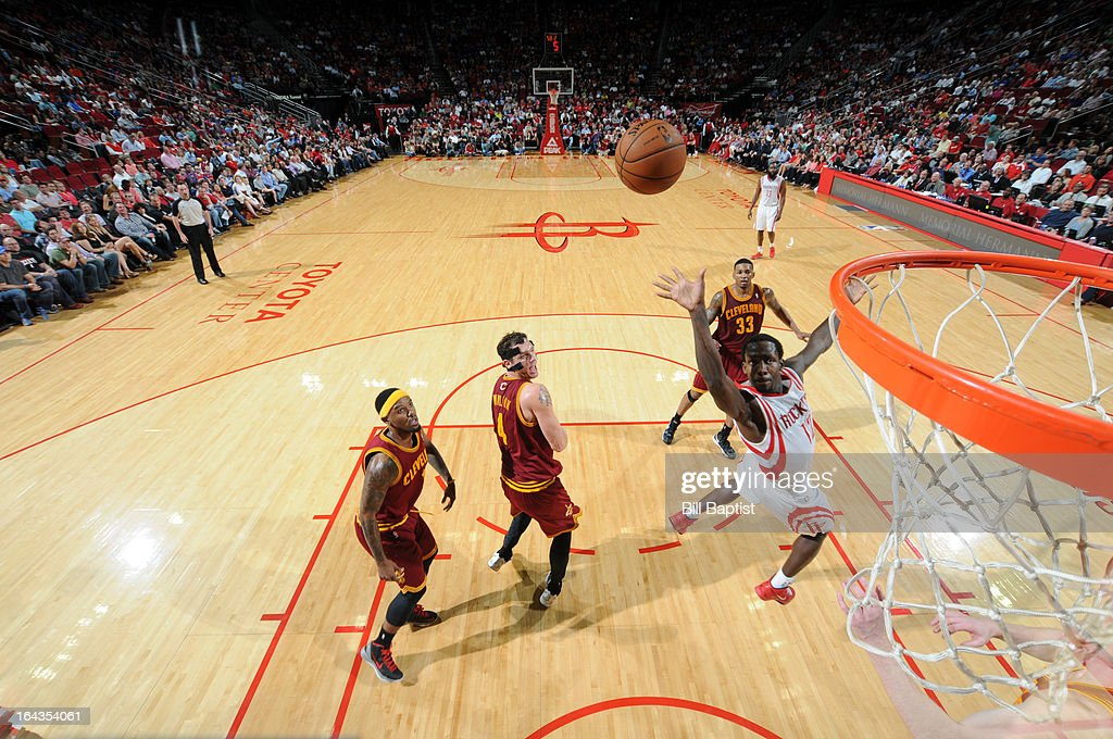 Patrick Beverley #12 of the Houston Rockets shoots the ball against the Cleveland Cavaliers on March 22, 2013 at the Toyota Center in Houston, Texas.