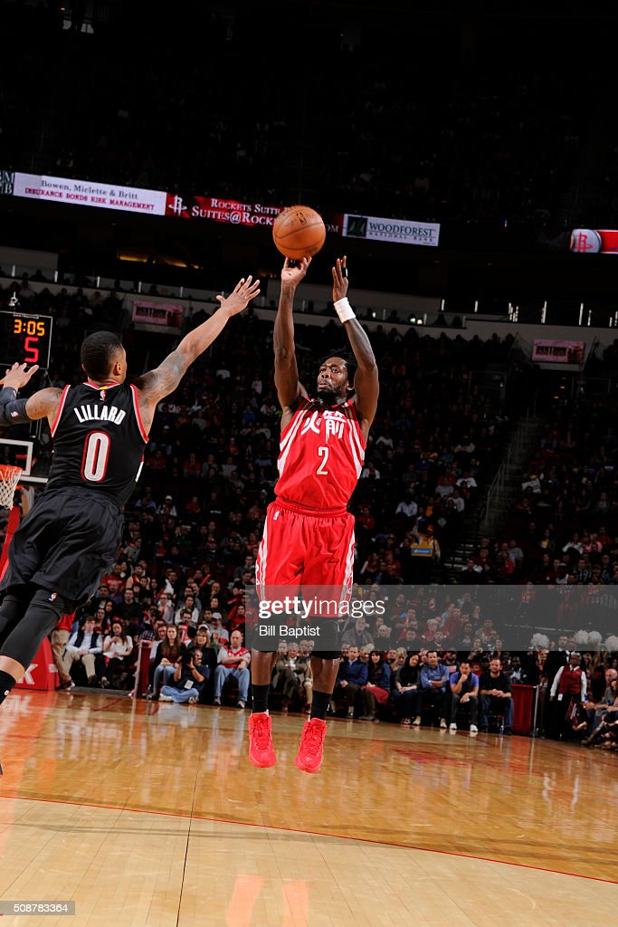 <a gi-track='captionPersonalityLinkClicked' href=/galleries/search?phrase=Patrick+Beverley&family=editorial&specificpeople=4144993 ng-click='$event.stopPropagation()'>Patrick Beverley</a> #2 of the Houston Rockets shoots the ball against the Portland Trail Blazers on February 6, 2016 at the Toyota Center in Houston, Texas.