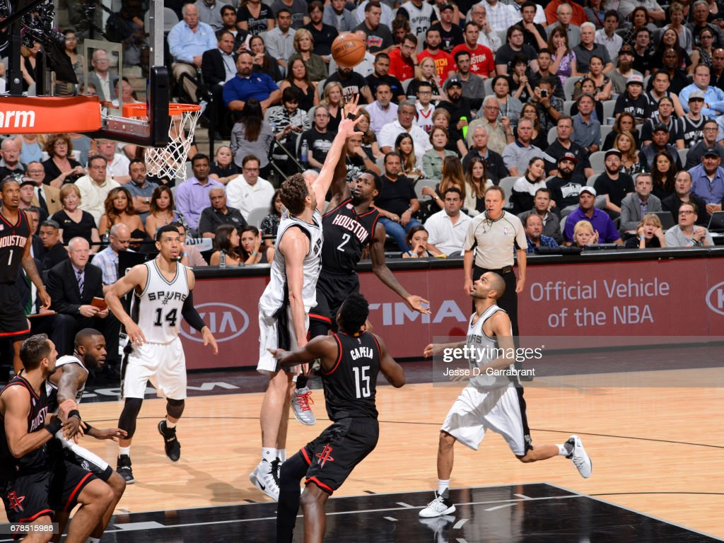 Patrick Beverley #2 of the Houston Rockets shoots the ball against the San Antonio Spurs during Game Two of the Western Conference Semifinals of the 2017 NBA Playoffs on May 3, 2017 at the AT&T Center in San Antonio, Texas.