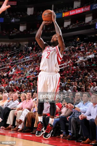 Patrick Beverley of the Houston Rockets shoots the ball during a game against the Denver Nuggets on March 20 2017 at the Toyota Center in Houston...