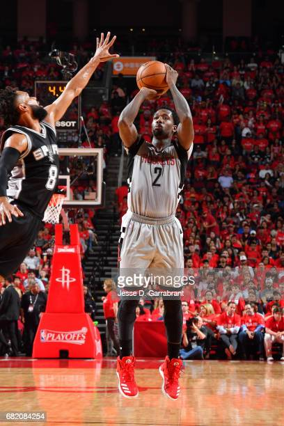 Patrick Beverley of the Houston Rockets shoots the ball during the game nio Spurs during Game Six of the Western Conference Semifinals of the 2017...