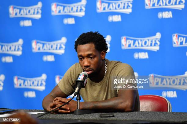 Patrick Beverley of the Houston Rockets talks with the press after the game against the San Antonio Spurs during Game Four of the Western Conference...