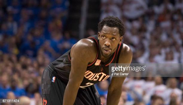 Patrick Beverley of the Houston Rockets waits for a penalty call against the Oklahoma City Thunder during the first half of Game Three in the 2017...